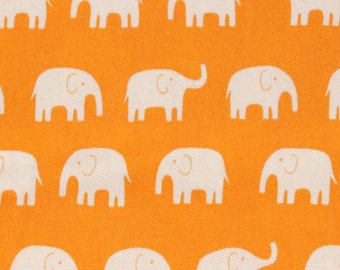 1 Yard Japanese Elephant Fabric in Tangerine,  light weight cotton canvas