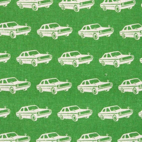 """1 Yard Echino Ni-co - """"Vintage Cars"""" - in Grass Green"""