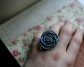 Grey Rose Ring (Flower Statement Ring-Adjustable)
