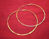 """Vintage gold hoops - handmade, gold plated, hammered, large hoop earrings 2 1/4"""" FREE SHIPPING"""