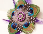 Peacock feather hair fascinator clip with lavender guinea and purple saddle feathers -- Treasury item-- prom, wedding, burlesque