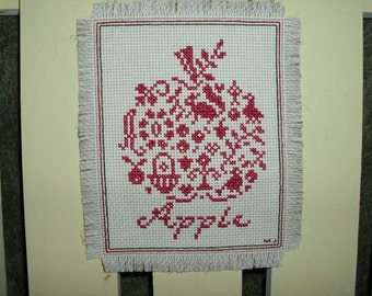 Wall Hanging Counted Cross Stitch One Color APPLE