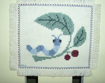 Wall Hanging cross stitch Whimsical WORM