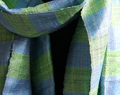 Blue Green Raw silk striped summer scarf NOW DISCOUNTED