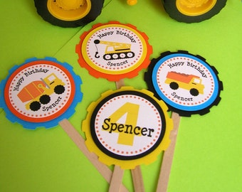 Construction Theme Personalized Cupcake Toppers (set of 12)