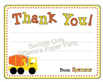 Cement Mixer Personalized Thank You Card (DIY Printable)