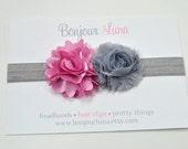 Shabby Baby Headband  - Dusty Pink - Gray - Infant Headband - Baby Photo Prop - Chiffon Flower - Satin - Stretch Elastic - Petite Size