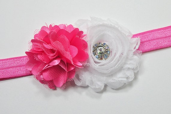 Baby Shabby Flower Headband - Pink - White - Stretch - Infant Headband - Flower Girl - Baby Photogrophy Prop - Fancy