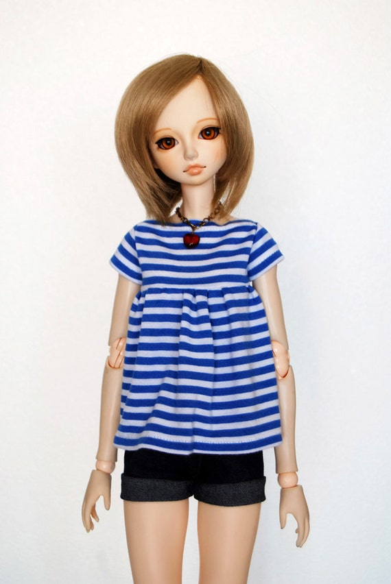 Outfit: Stripped Shirt and Denim Shorts, for MSD BJD / Obitsu body (47 cm/18,5 in)