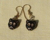 Lucky Black and Gold Cat Face Earrings