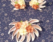 Vintage Seashell Brooch and Earrings in Pinks and Corals