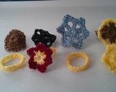 Crocheted size 11 flower ring