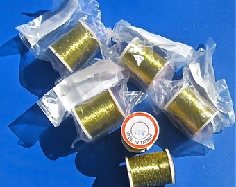Gold Metallic Thread, 6 Rolls,  2 - Ply