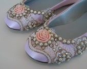 Sweet Pink Flower girl shoes - Wedding Shoes - Any Size - Pick your own shoe color and crystal color