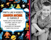 Birthday Invitation Printable Photo Card Robot Party