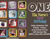 1st Birthday Invitation Boy or Girl Printable Collage Photo Card Blocks