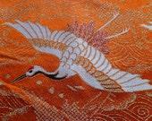 Kimono fabric crane orange uchikake wedding panel
