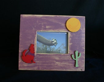 Picture frame 4x6 painted wood coyote moon cactus scene