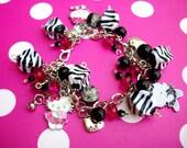 Hello Kitty Black White Zebra Hot Pink Charm Bracelet