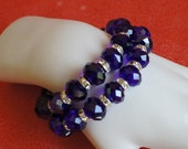Stunning Cobalt Blue Crystal Bead Bracelets with Rhinestone Spacer Accents on Stretch Cord