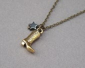 Cowboy boot necklace in antique gold with hematite star on antique brass chain