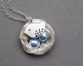 Bird nest necklace, silver, rhodium plated sparrow, baby blue swarovski pearls