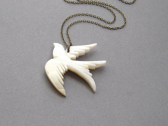 Dove Necklace Mother Of Pearl White Bird Long By Sevenstarz
