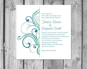 Simple Swirls Wedding Invitation Set