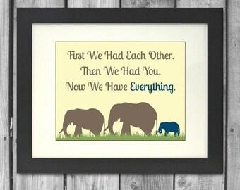 11x14 Elephant Family Print