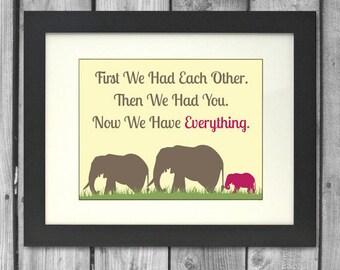 8x10 Elephant Family Print