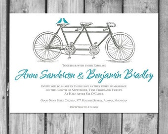 Tandem Bicycle Lovebirds Wedding Invitation Set