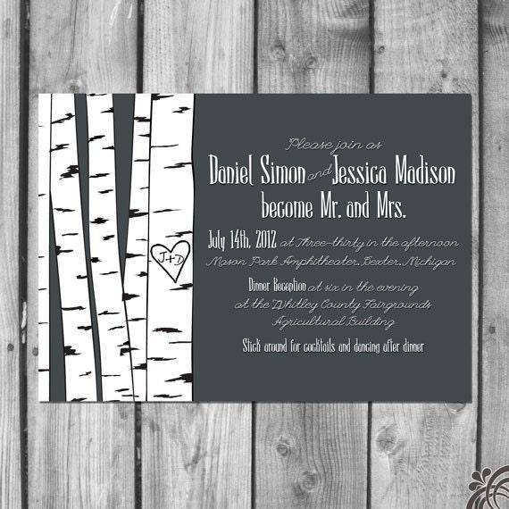 Wedding Invitation Tree: Birch Tree Wedding Invitation Set