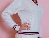 VINTAGE 1970s tennis sweater - white with red and navy blue stripes - cable braid knit- preppy nautical - by THE BROADWAY - medium