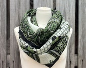 Infinity Scarf Upcycled VINTAGE Silk Sari Circle Scarf in Amazing Greens Black and White