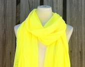 Long Scarf NEON LIQUID SUNSHINE Yellow in Soft Fine Mesh New Item