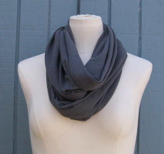 SALE - Infinity Scarf The GRANDE All Season Circle Scarf CHARCOAL Gray Grey