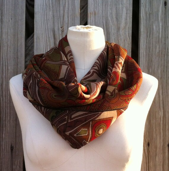 Infinity Scarf Beautiful VINTAGE Silk Sari Scarf Versatile Upcycled Autumn Fall Earth Tones