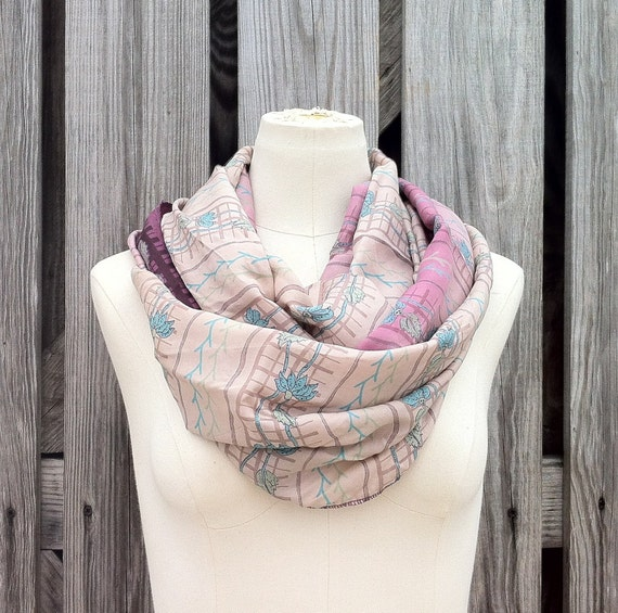 Infinity Scarf Beautiful Upcycled VINTAGE Silk Sari Circle Scarf in Mauve Berry Lilac