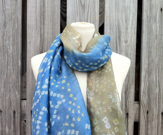 Beautiful Upcycled VINTAGE Silk Sari Scarf in Sky Blue and Light Olive Khaki