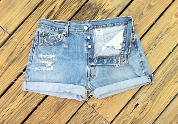 Jean Shorts VINTAGE LEVI'S 501 Button Fly Distressed Jean Shorts Plus Size US 34 / 36 Unisex