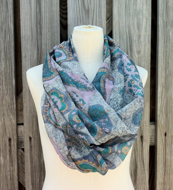Infinity Scarf Beautiful Upcycled VINTAGE Sari Circle Scarf in Soft  Pastels