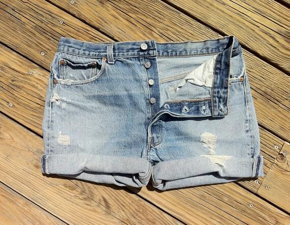 Jean Shorts High Waist VINTAGE LEVI'S 501 Bleach Grunge Distressed Jean Cutoffs size US 34 / 36