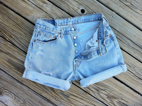Jean Shorts High Waist Vintage LEVI 501 Button Fly Distressed Jean Cutoffs size US 30/32 or 6/7/8