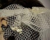 Vintage Off White Halo Style Beaded Bridal Wedding Veil