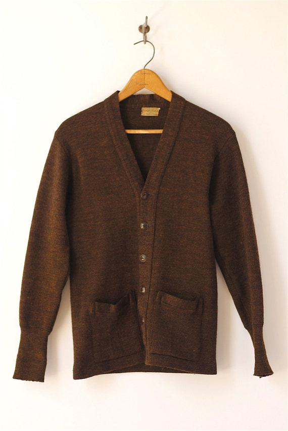 Mens 38 R Black Raffinatti Cutaway Jacket Tuxedo Morning: 1940s Vintage Mens Sportclad Brown Cardigan 38