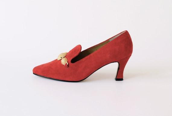 RESERVED....vintage coral suede heels 6.5