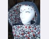 SALE - Reversible Grey Fleece Scoodie - Red Flowers