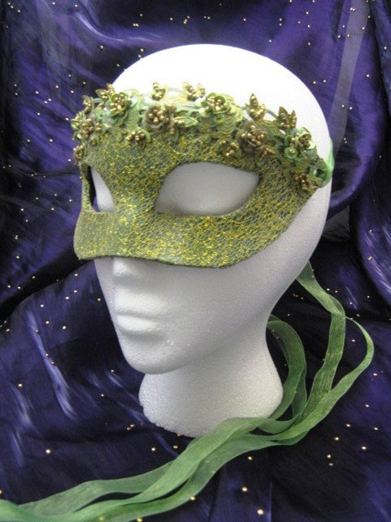 Springtime Nymph Handmade Leather Masquerade Mask