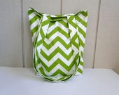 Lime Green Summer Tote - Chevron - Carry All - Beach Bag - Market Bag