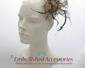 Feather Fascinator Head Piece - Gold with hints of Black